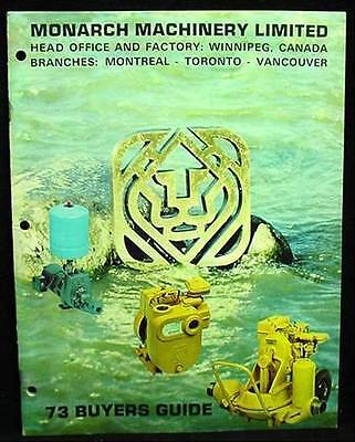 Monarch Machinery 1973 Buyers Guide Catalog Mixers Firehand Pumps Equipment