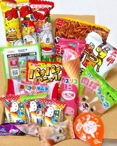 Japanese Candy Dagashi Set Chocolate Noodles Snack Hi-Chew Yum-yum Sticks etc.