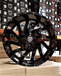 20x10 GLOSS BLACK WHEELS! DIRECTIONAL with HUGE LIP! Dodge-Chevrolet-Gmc-Hummer -388