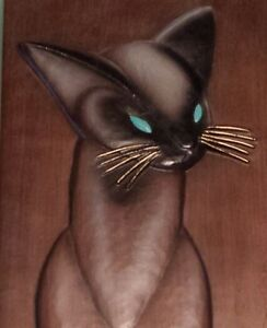 Arabesque Siamese Cat carved wood wall plaque by Burwood Company London Ontario image 2
