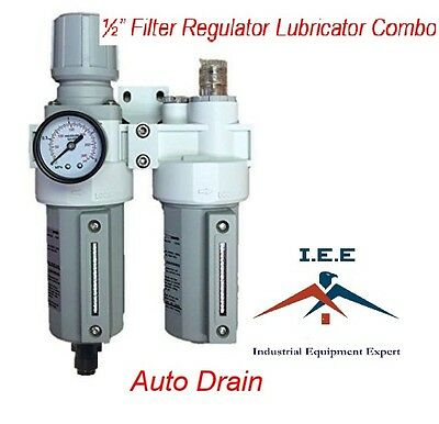 12 Compressed Air Moisture Filter Regulator Oiler Separator Lubricator Combo