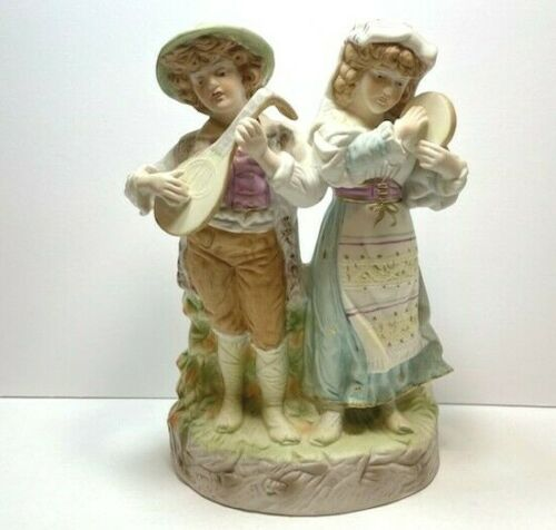 Vintage Musical Couple Germany Bisque Heubach Figurine