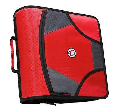 New Case-it XL 3 Ring D-Ring 4 INCH Zipper Binder with 5-Tab File Folder, RED