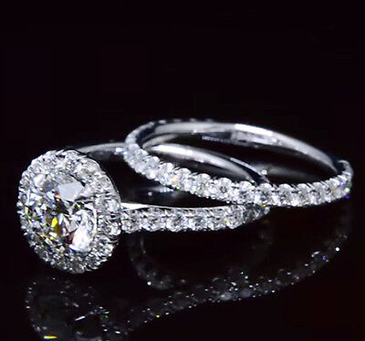 1.60 Ct Halo Round Cut Diamond Engagement Ring Set Round Accents G,VS2 GIA 14K