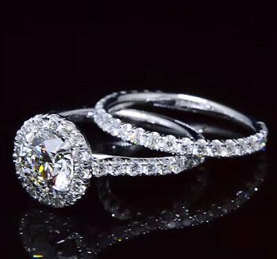 1.80 Ct Round Cut Diamond Halo Engagement Ring Set G,VS2 GIA Certified 14K New