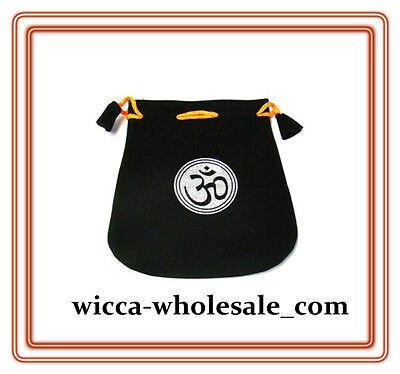 Black Velvet Bag Pouch 5 X 5 Om Sign Wicca Talisman Drawstring Tarot