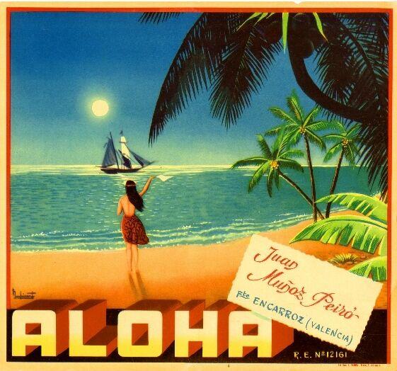 Valencia Espana Spain Aloha Hawaii Spanish Orange Citrus Fruit Crate Label Print