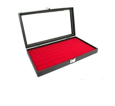 New 36 Pair Cufflink Red Glasstop Jewelry Display Case