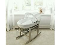Kinder valley white Dimple with Dove Grey Wicker moses basket. Brand new. 5 left in stock.