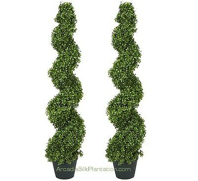 "2 ARTIFICIAL 4' 2"" BOXWOOD SPIRAL TOPIARY IN OUTDOOR TREE POT PLANT BUSH PATIO"