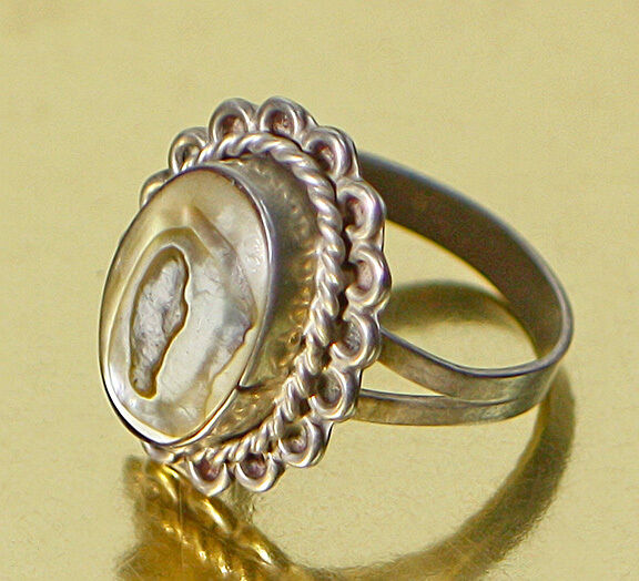 VINTAGE MEXICAN ABALONE STERLING SILVER RING