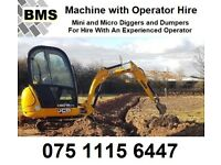 Mini micro digger or dumper with experienced operator hire man and machine hire Kubota JCB machines