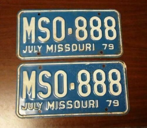 1979 MISSOURI PASSENGER LICENSE PLATE - PAIR (MSO-888)