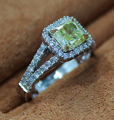 2.10 Ct. Cushion Cut Split Shank Halo Pave Diamond Engagement Ring GIA Certified 1