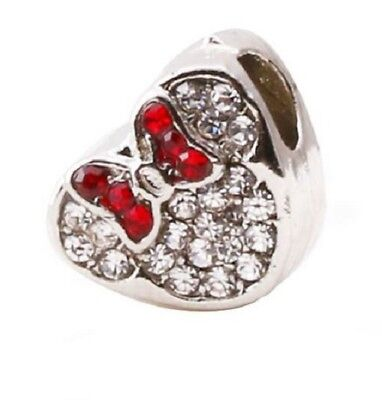 MINNIE MOUSE RED CRYSTAL HEART CHARM BEAD. SILVER PLATED ](Red Minnie Mouse Plates)