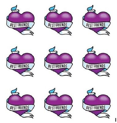 Purple Heart Tattoos (Girls Kids Temporary Tattoos - Pinatas, Party Bags, Best Friends Purple)