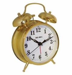Westclox Twin Bell Gold Analog Alarm Clock Battery Powered Metal Case and Bells