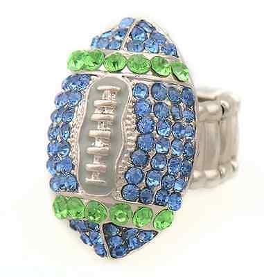 Seattle Seahawks Blue & Green Rhinestone Football Ring Womens NFL Jewelry RETRO!