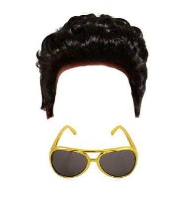 CHILDRENS KIDS BOYS ELVIS TEDDY BOY WIG & *GOLD* SUNGLASSES FANCY DRESS COSTUME (Kids Elvis Wig)