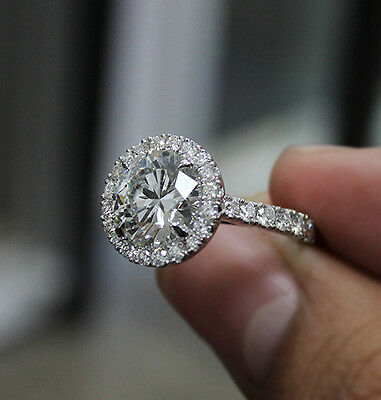 2.90 Ct. Natural Round Cut Halo Pave Diamond Engagement Ring - GIA Certified  2
