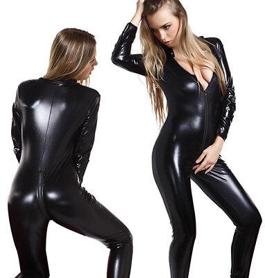 GANZANZUG Lack Casual WET LOOK Clubwear Bodysuit Jumpsuit  CATSUIT Schwarz DE