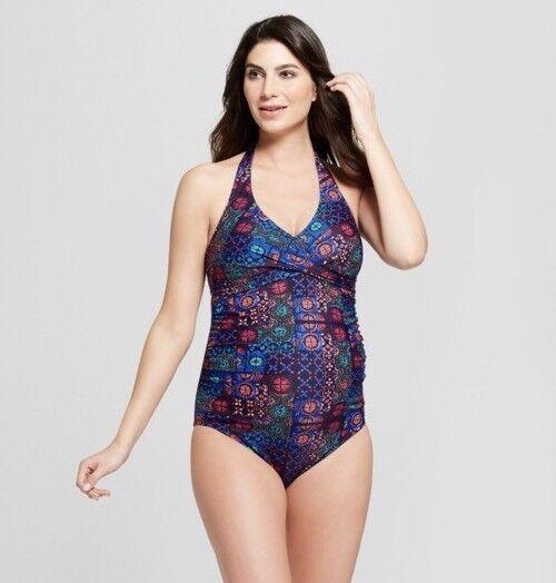 Isabel Maternity By Ingrid & Isabel Wrap Halter One Piece Swimsuit Swimwear Sz L