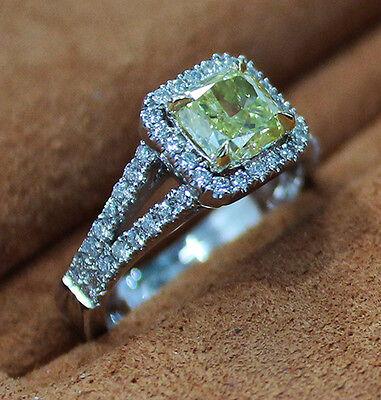 2.90 Ct. Cushion Cut Split Shank Halo Pave Diamond Engagement Ring GIA Certified 1