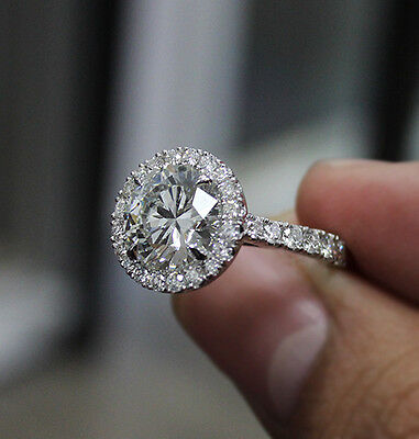 2.10 Ct. Natural Round Cut Halo Pave Diamond Engagement Ring - GIA Certified 3