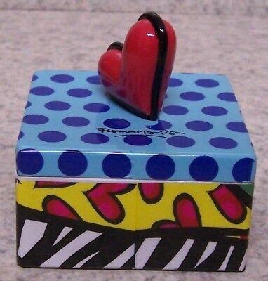 - Jewelry Treasure Trinket Box Romero Britto Heart Square Shaped NEW