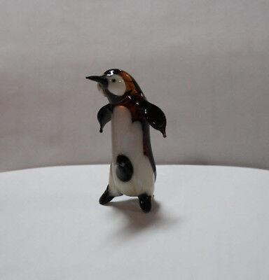 Hand Blown Glass Lamp Murano Glass Figurine Penguin with Baby
