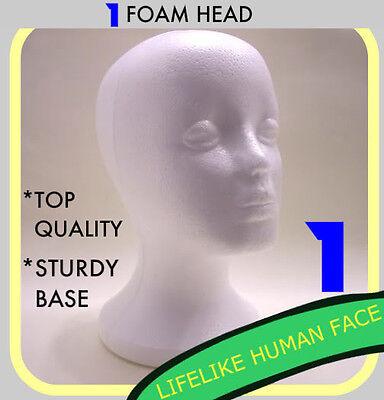 1 FEMALE FOAM STYROFOAM MANNEQUIN HEAD WIG HAT MODEL