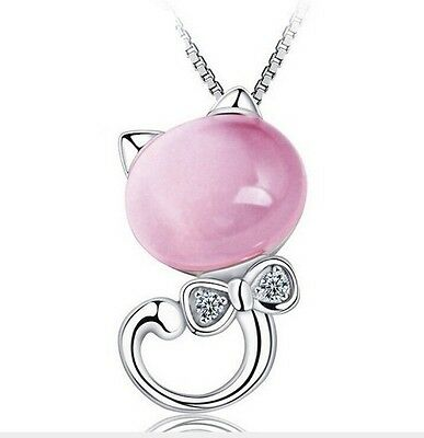 Sterling Silver Necklace Opal Stone Kitty Cat Bow Pendant Chain Gift Box Pink A3 3 Stone Sterling Silver Necklace