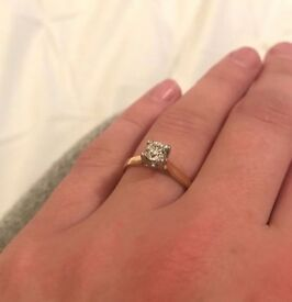 £2500 Diamond ring, 0.50ct, yellow & white gold, engagement ring *as new*