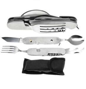 6 in 1 Camping Knife with Spoon Knife & Fork Stainless Steel Folding Fishing!