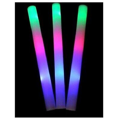 12 PCS LED Light Up Foam Sticks Baton Wands Rally Party Rave Tube Soft Glow Wand