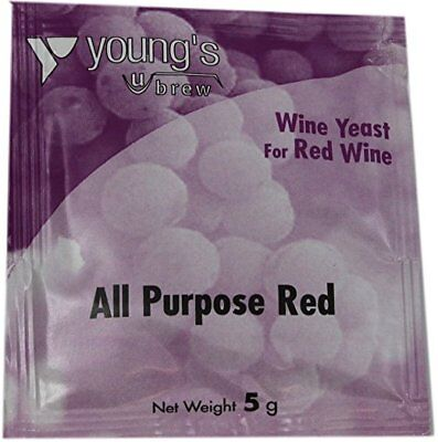 Wine Yeast Sachet All Purpose Red 5 Grams 5g Young's Brew