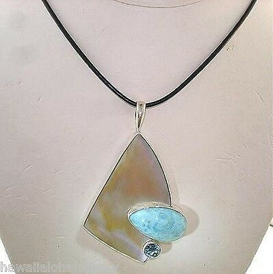 Marta Howell Sterling Silver Gold Lip Mother of Pearl Larimar Topaz Pendant #1