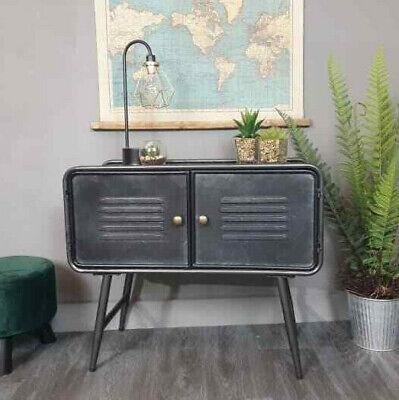 Industrial 2 Door Metal Cabinet Media Storage Unit Vintage Side End Lamp Table -