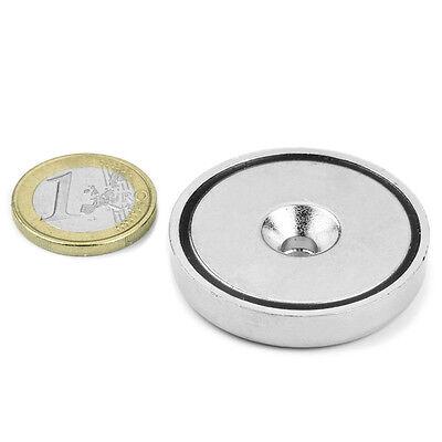 Imán de neodimio para atornillar Ø 40 mm con taladro avellanado. Fuerza 52 kilos