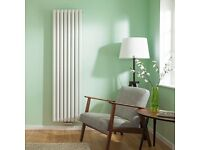 Milano Aruba Flow - White Vertical Double Panel Middle Connection Designer Radiator 1600 x 354mm