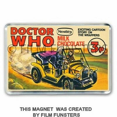 Doctor Who Nestles CHOCOLATE BAR  - JON PERTWEE & BESSIE- JUMBO FRIDGE MAGNET