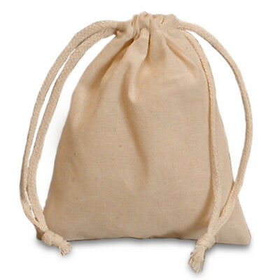 Pouch - Natural Muslin Crystal Bag W Drawstring - 4 X 3