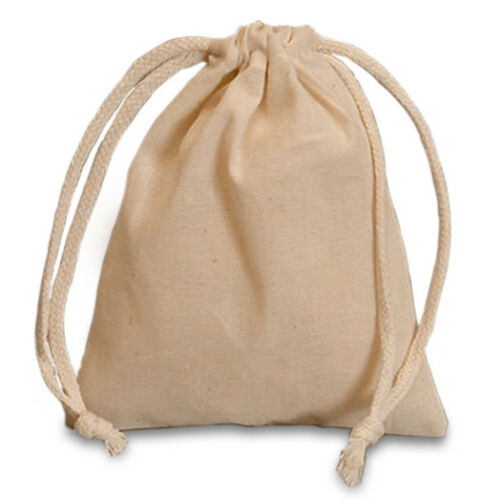 POUCH - NATURAL MUSLIN Crystal Bag w/ Drawstring - 4 x 3