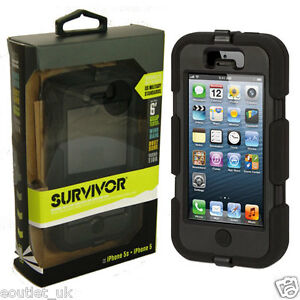 Griffin Survivor Tough Rugged Case For iPhone 5/5s - Black/Black NEW