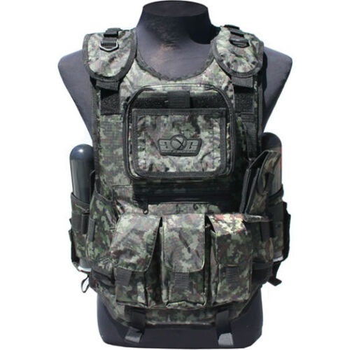 GXG Deluxe Tactical Vest Harness - Digi Green - Paintball