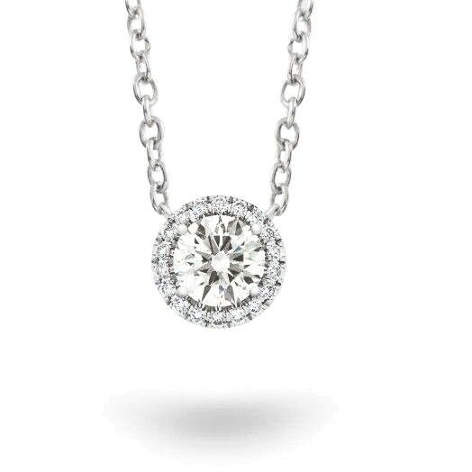 0.70 ct. Halo Round Brilliant Cut Diamond Pendant w/ Chain GIA F, SI1 14k / 18k
