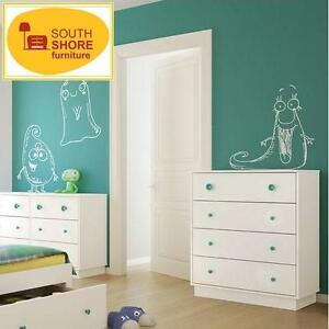 NEW SOUTH SHORE 4 DRAWER CHEST PURE WHITE LITTLE MONSTER DRAWERS CHESTS BEDROOM STORAGE DRESSER DRESSERS AMOIRE