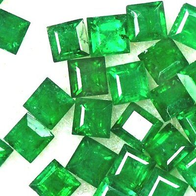 NATURAL PRINCESS-CUT EMERALD GEMSTONE LOOSE 2 pieces - 3.1 x 3.1 mm SUPERB GREEN