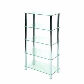 Shelving glass unit, RRP £95, mint condition, house clearance.