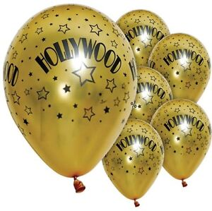 10 X HOLLYWOOD MOVIE NIGHT PARTY METALLIC GOLD PRINT HELIUM BALLOONS DECORATION